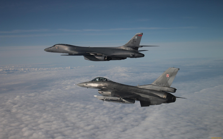 авиация, разные вместе, rockwell, b1, lancer, b1b, сверхзвуковой, тяжелый, бомбардировщик, general, dynamics, f16, fighting, falcon, американский, боевые, самолеты, ввс, сша
